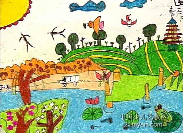 春天的风景儿童画2幅