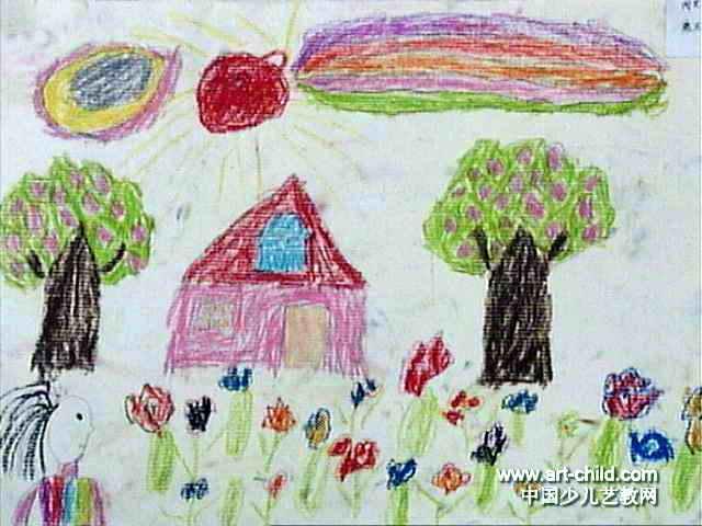 闻花香儿童画作品欣赏