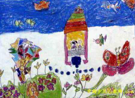 小区的花园儿童画