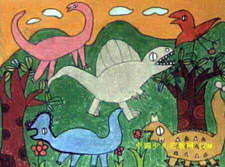 恐龙世界儿童画(四)3幅(第2张)图片