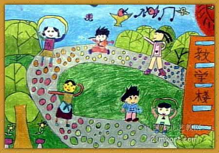 教学楼儿童画