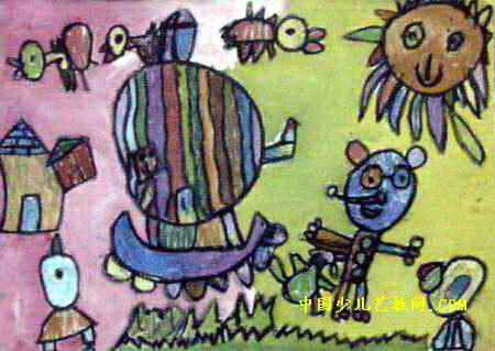 动物杂技儿童画 我的家乡真美儿童画