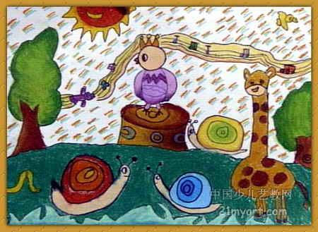 森林里的音乐会儿童画2幅
