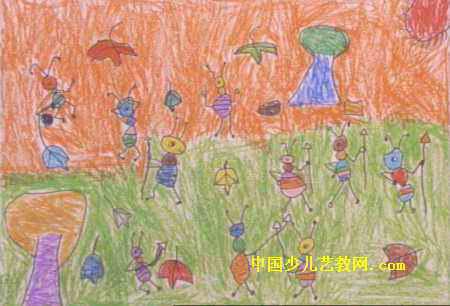 儿童画 张学豪/蚂蚁大战儿童画,此幅油画棒画尺寸为306x450像素,作者张学豪...