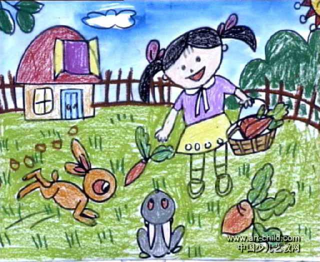 兔宝宝快长大儿童画作品欣赏