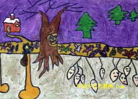 儿童油画棒画 >> 冬眠儿童画2幅   冬眠儿童画属于油画棒画,大小为322