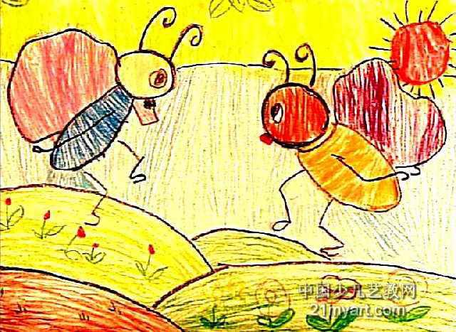 蚂蚁搬家儿童画,此幅油画棒画尺寸为467x640像素,作者包爱宁,来自洛阳市轴承集团公司南山幼儿园,未知,4岁.