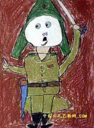我扮演的日本兵儿童画