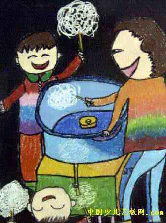 甜甜的棉花儿童画