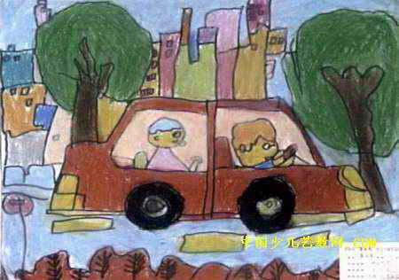 城市风光儿童画属于油画棒画