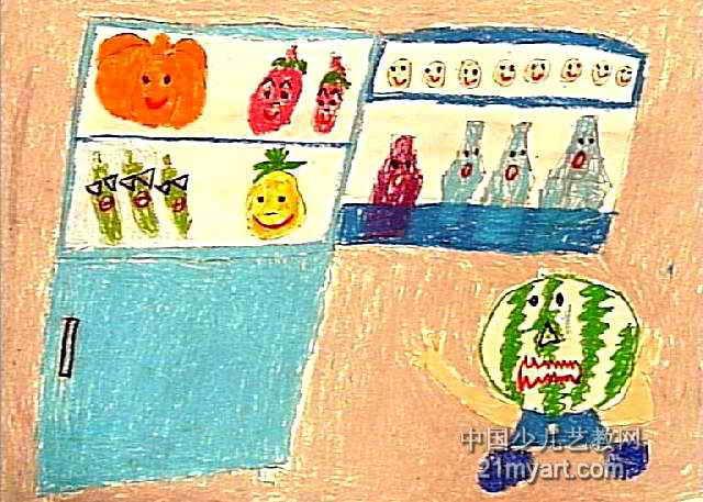儿童画 洛阳市/冰箱会议儿童画属于装饰画,大小为457x640像素,作者赵龙飞,...
