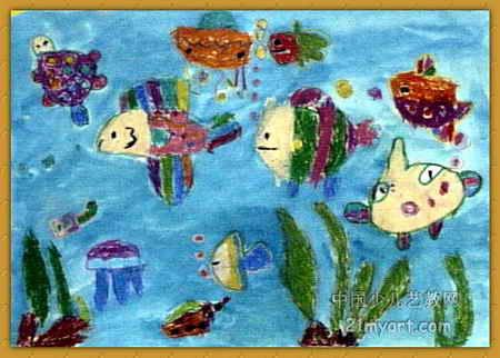 海底乐园儿童画; 实体油画简笔画卡;