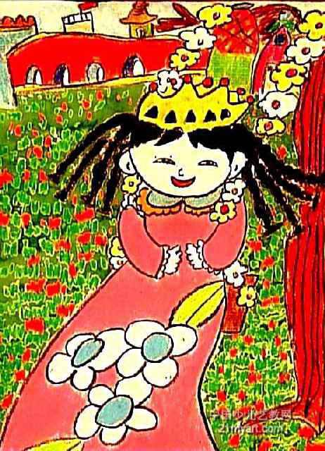 美丽的小姑娘儿童画2幅