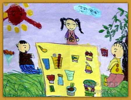 快乐的野餐儿童画