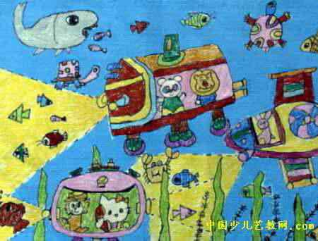 海底探险儿童画属于 油画棒画