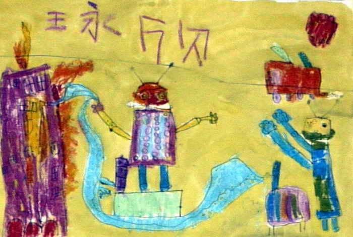 机器人灭火队儿童画图片