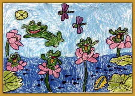 青蛙与荷花儿童画