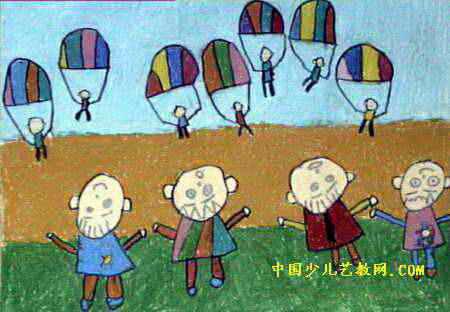 长大我也当伞兵儿童画,此幅油画棒画尺寸为312x450像素,作者王瑞玉,未知,4岁,来自开封市星星幼儿园.