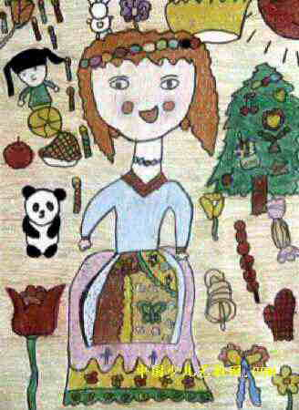 简笔画小姑娘长辫子-送卖火柴小女孩的礼物儿童画