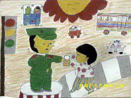 警察叔叔辛苦了 儿童画