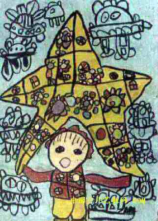 蜜蜂采密忙儿童画作品