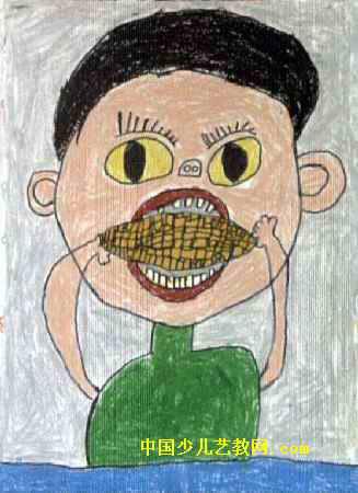 吃玉米儿童画2幅