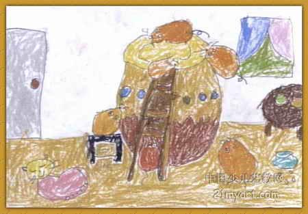 小老鼠偷油喝儿童画