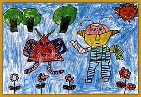 我们都是机器人儿童画