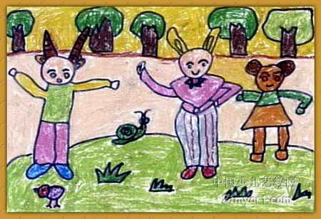 小动物早操儿童画,此幅油画棒画大小为308x450像素