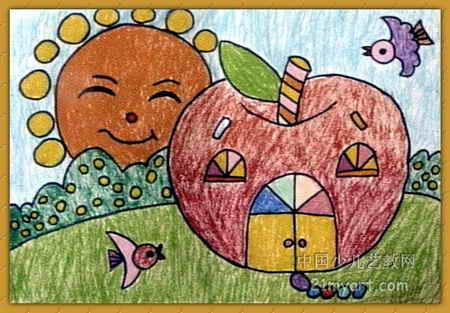苹果小屋儿童画2幅