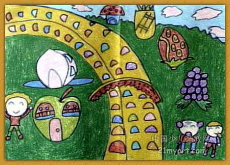 水果乐园儿童画,此幅油画棒画尺寸为324x450像素,作者周铭,来自平顶山