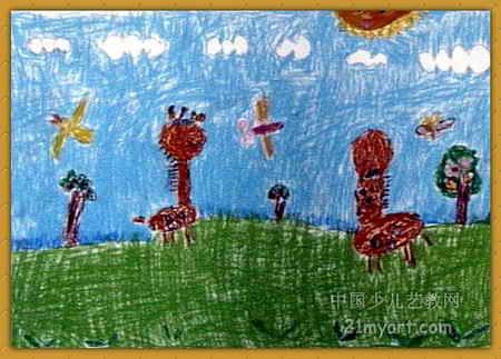 长颈鹿儿童画,此幅油画棒画大小为323x450像素,作者陈璐瑶,来自安阳化