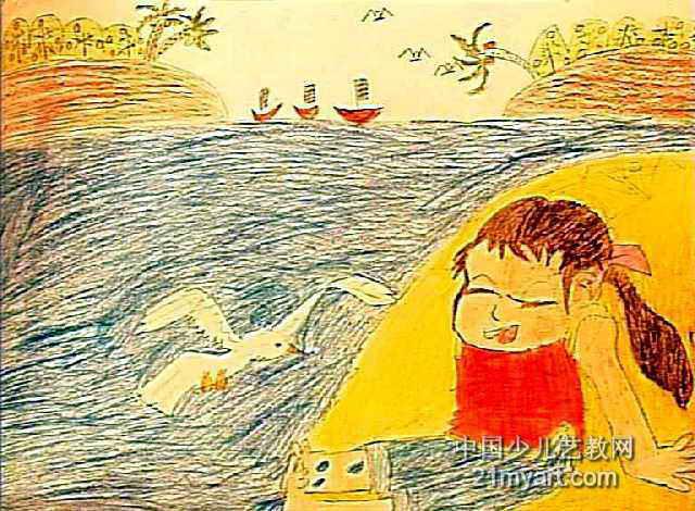 简笔画 儿童画 儿童油画棒画 >> 海边的小女陔儿童画作品欣赏   海边
