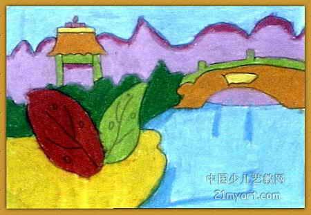 风景儿童画,这幅油画棒画作品长311px,宽450px,作者谢淑凝,女,7岁