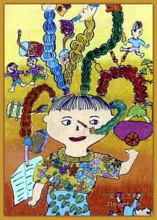 奇怪头发儿童画属于油画棒画