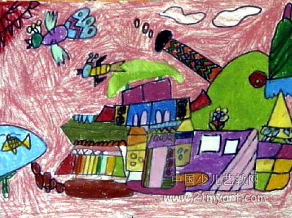 房子儿童画属于油画棒画