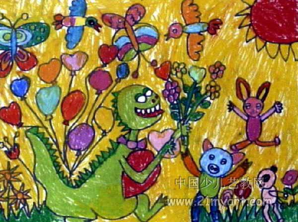 快乐的一天儿童画10幅