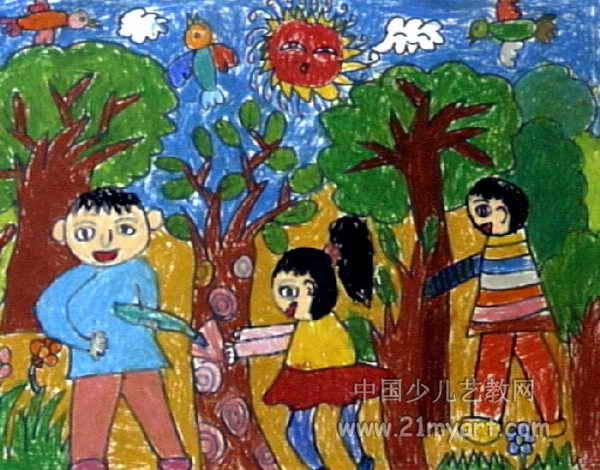 爱护小树苗儿童画2幅