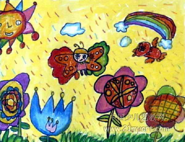 春天儿童画属于油画棒画