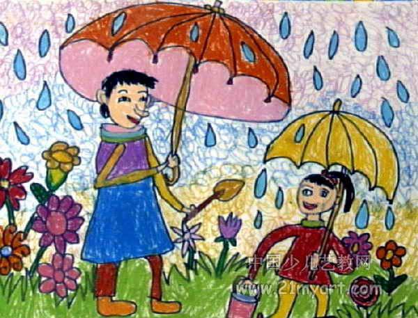 下雨天儿童画2幅