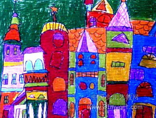 美丽的城堡儿童画11幅(第8张)图片