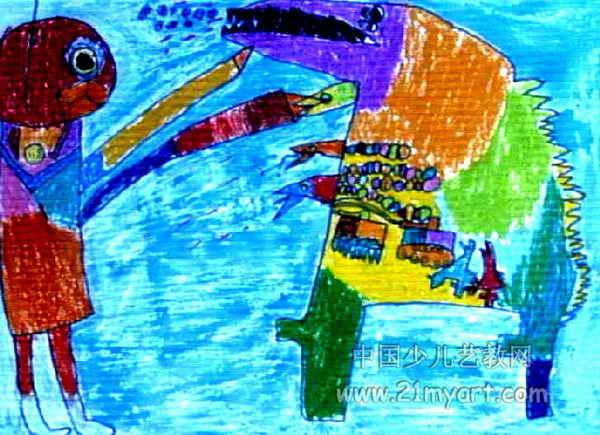 奥特曼打怪兽儿童画2幅