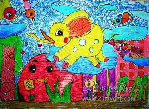 我跟花儿来比美儿童画