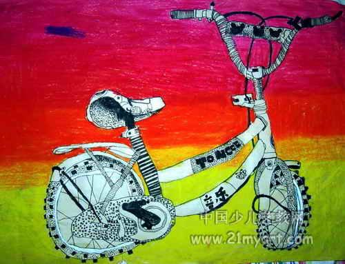 我的自行车儿童画2幅
