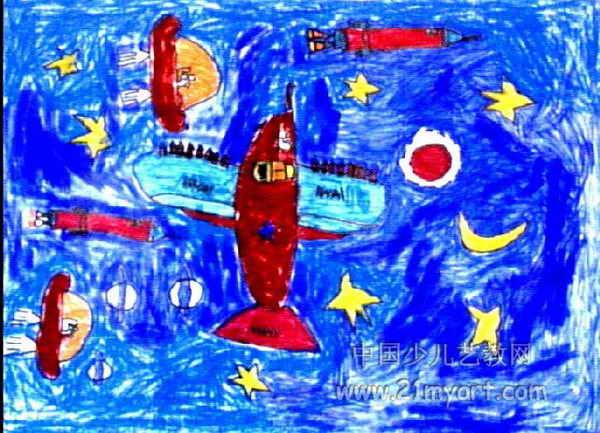 战斗机油画棒儿童画