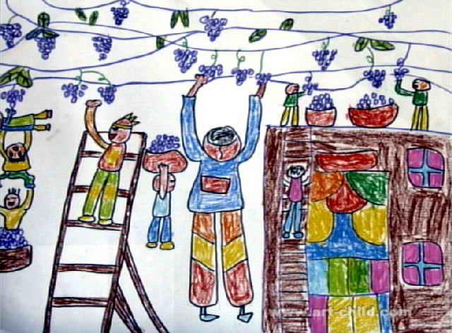 葡萄丰收了儿童画作品欣赏
