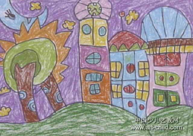 奇妙的房子儿童画,此幅油画棒画尺寸为452x640像素