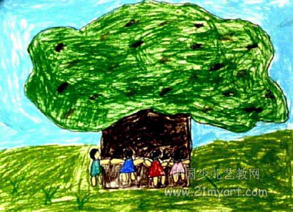 家乡的树儿童画