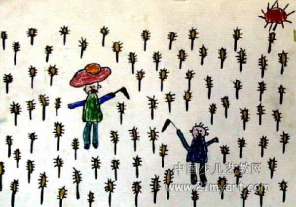 和爷爷割麦子儿童画