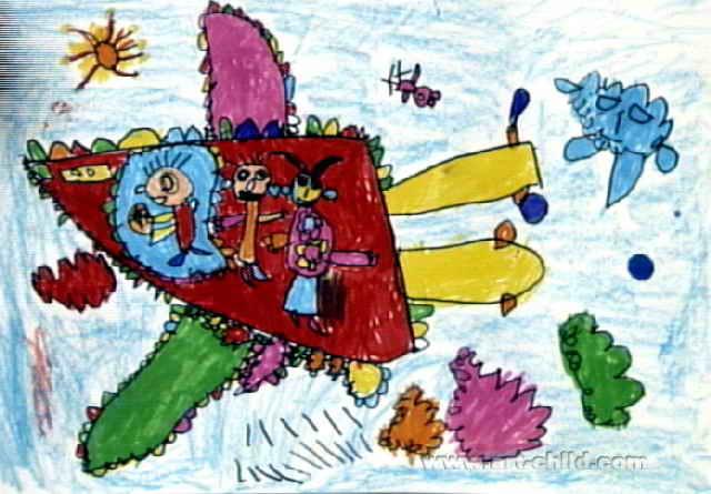 我坐飞机去旅行儿童画